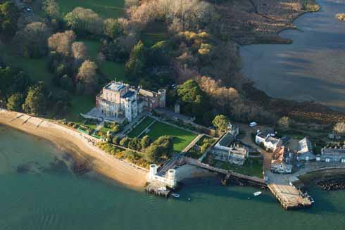 Branksea Castle, the jetties and visitor centre on Brownsea  Island