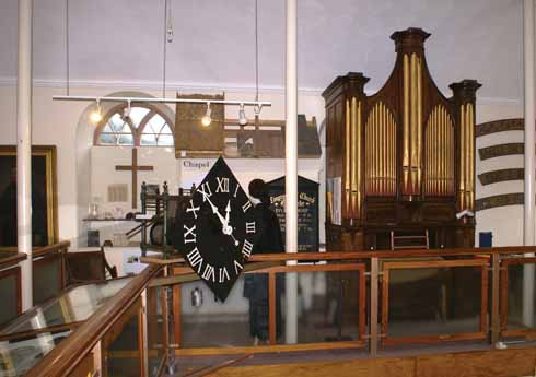 The chapel's organ remains as part of an exhibit celebrating the building's former use
