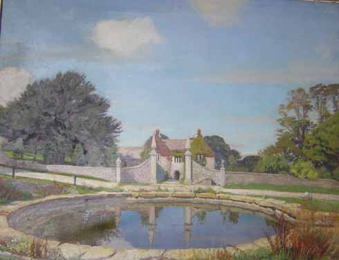 One of George Spencer Watson's many Dunshay paintings. Dating from the late 1920s it shows the pond newly walled and the fine gateway to the house