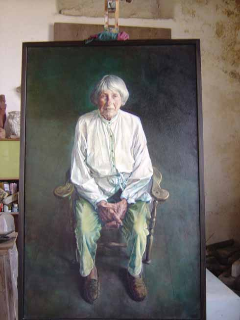 Toby Wiggins's 2004 portrait of Mary Spencer Watson set up in the Dunshay studio (Ilay Cooper)