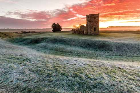 Knowlton church and henge on a frosty November morning that augurs ill for the shepherds...