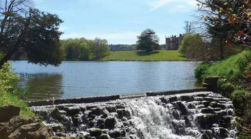Cascade, lake and Sherborne Castle