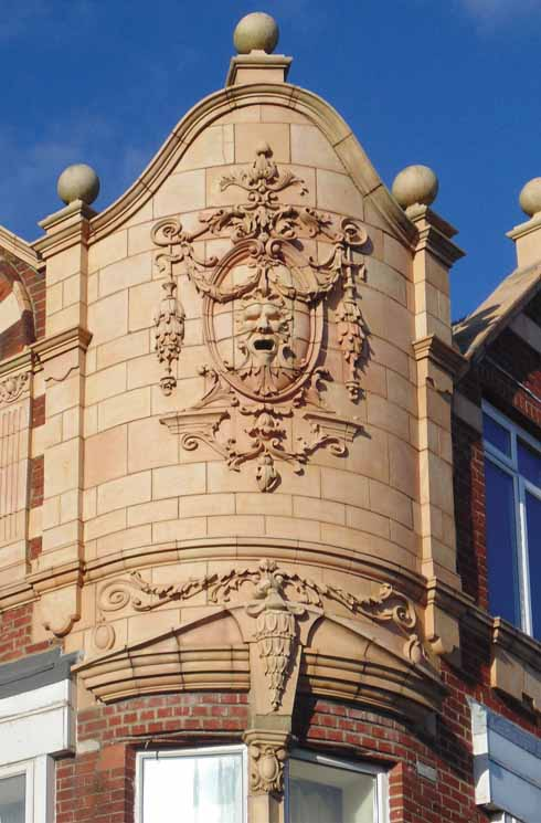 Lovely detailing on this corner building at Julian Terrace in Southbourne, Bournemouth