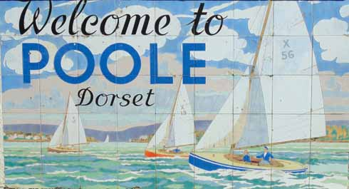 The famous 'Welcome to Poole' sign at Sandbanks