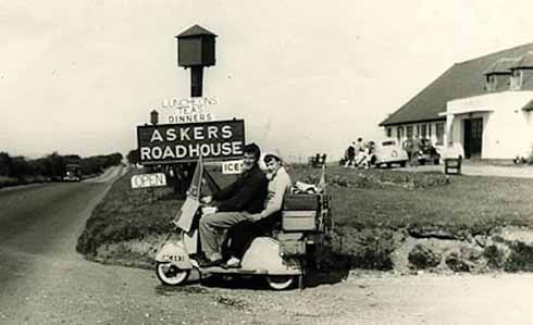 John and June Asker, from Norfolk, on their Lambretta LD at Askers in the early 1960s