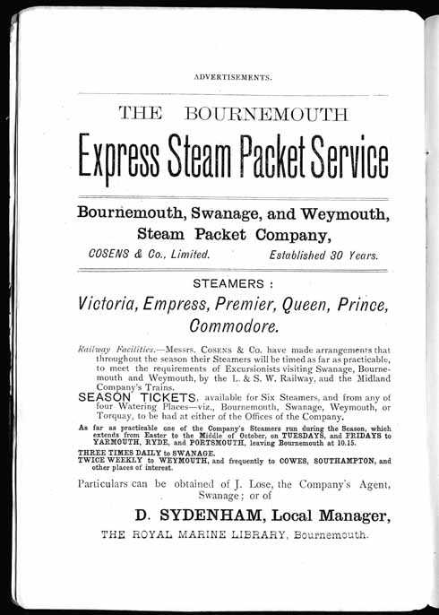 A flyer advertising six packet steam boats for Sydenham's