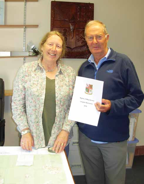 Ian with Dr Mary Sparks, Clerk to Langton Matravers Parish Council, with his recent report on the Parish's rights of way