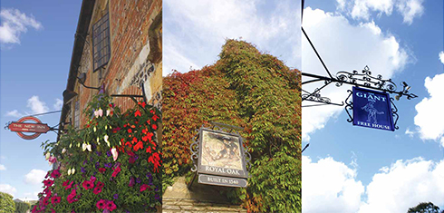 All three pubs in Long Street have colour-matched foliage or flowers and pub signs. The Giant Inn's green and white flowers are obscured from view while the giant himself is clearly far from it.