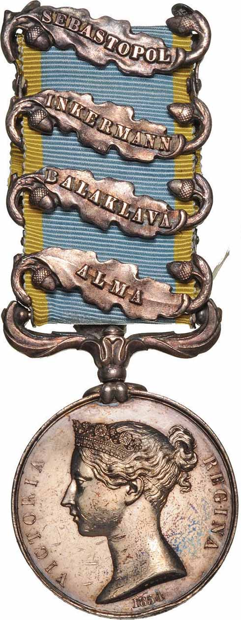 Tom was awarded the Crimea Medal with four clasps, as shown here. He lost his medal in the 1860s but was presented with a duplicate fifty years later.