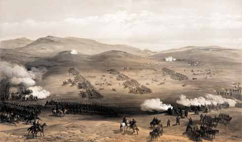 William Simpson's contemporary lithograph of the Charge of the Light Brigade