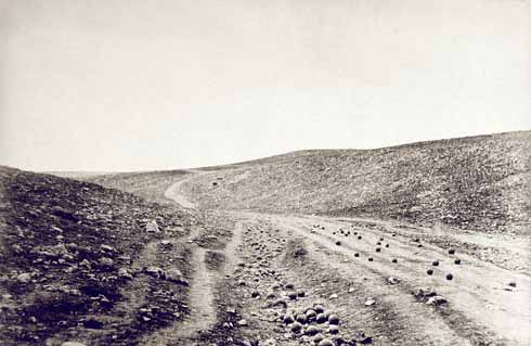 Roger Fenton was one of the first war photographers. He called this image 'The Valley of the Shadow of Death'; it was not actually taken at the exact location of the infamous charge, but at a spot close by.