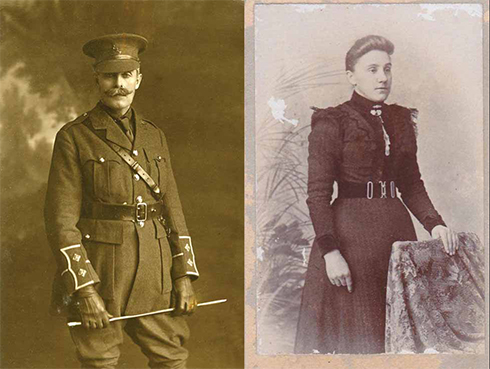 Left: A H Berens in military service in 1915. Right: Louisa Churchill