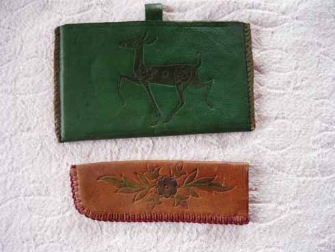 Embossed and coloured leatherwork from Studland Art Industries