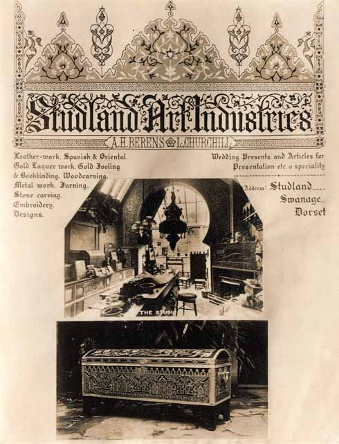 A really rather fancy promotional flyer for the Studland Art Industries showing A H Berens and Louisa with equal billing