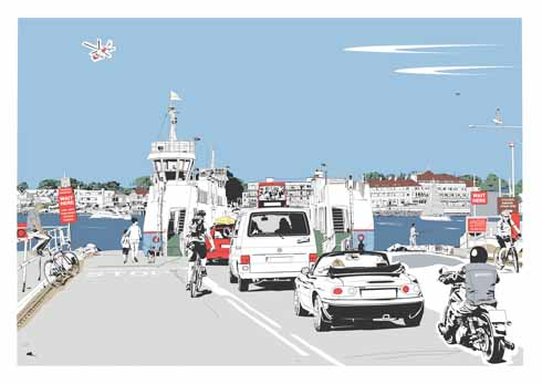 Jim's interpretation of the  Bramble Bush Bay as it waits to cross from Studland to Sandbanks