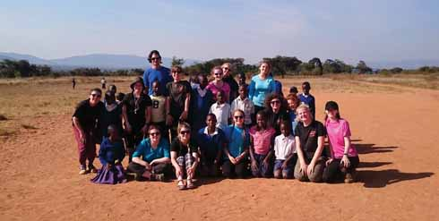 Building a school in Tanzania as part of a community activity at Mguhu School through World Challenge, summer 2016