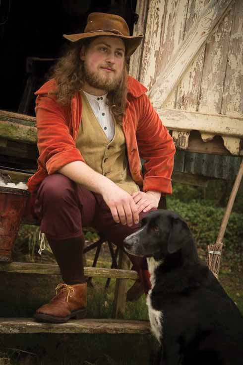 Alastair with Shadow, dressed to play Diggory Venn in The New Hardy Players' production of The Return of the Native last summer