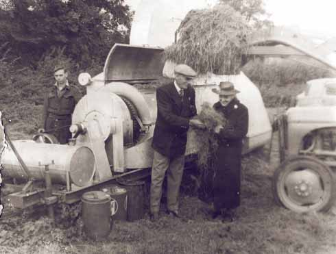 Louis Strange shows his sister Daisy his rocket-powered grass-drying machine at Weston Farm.