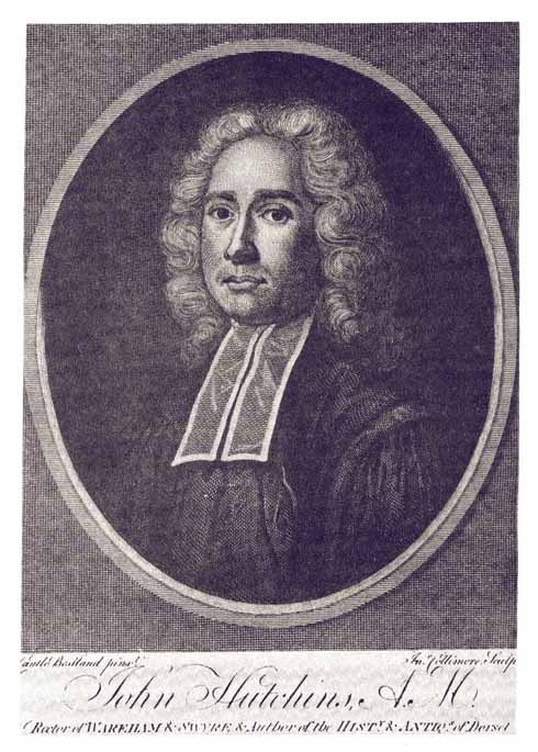 This portrait of John Hutchins by Cantlo Bestland appeared in the second edition of the History