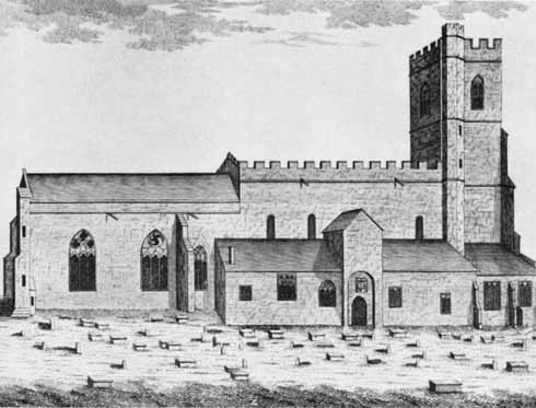 This illustration of Lady St Mary Church in Wareham, which appeared in the first edition of the History, shows it before the destruction of the nave in 1841