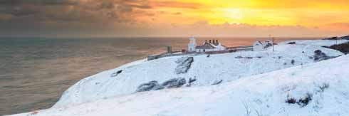 Anvil Point in the snow at sunset in early December
