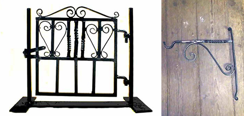 A gate and a bracket for a hanging basket made by Jacob Bond