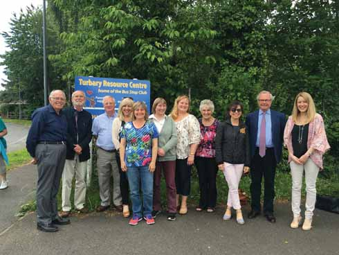 DCF trustees and ambassadors at the Bus Stop Club in Ferndown on a 'Seeing Is Believing' visit to gain first hand knowledge of the work being done by one of Dorset's smaller charities