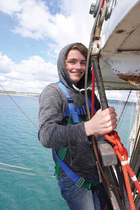 A pupil from Wey Valley School in Weymouth who was part of a DCF mentoring project that saw a group of mentees take part in a two day tall ship sailing trip.