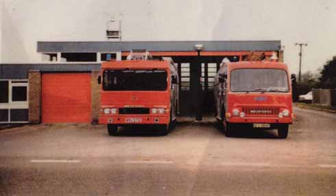 The Fire station in 1980 with its Bedford engines.  The station looks little different from the outside 37 years on, although the engines themselves have changed significantly