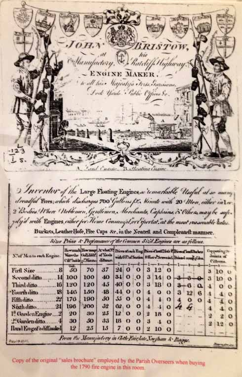 Copy of the original sales brochure for the 1790 engine as used by the parish overseers in their buying deliberations