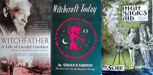 From left to right The second volume of Philip Heselton's biography of Gardner; Witchcraft Today by Gerald Gardner; Gardner's novel, High Magic's Aid, was published under his witch name before the repeal of the Witchcraft Act