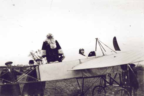 In the very early days of aviation, Cyril Beale, playing Father Christmas himself, took off from Four Elms near Iford, flew over Bournemouth a few times then returned to Four Elms