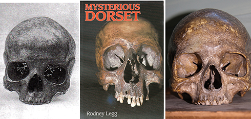 John Symonds Udal's 1910 picture of the Bettiscombe skull (left), as pictured on Rodney's book cover (above middle) and Roger's picture of the skull in 2016 (right)