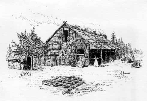 Artist's impression of Rose Cottage as it would have looked in the early 1800s