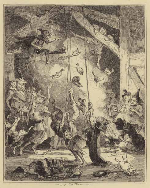 A meeting of witches, an illustration from 1841 for the Chronicles of Crime