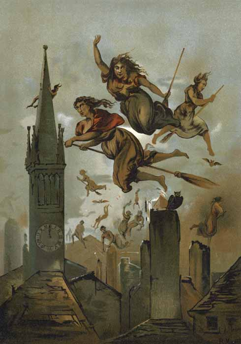 A traditional image of witches in flight (www.lookandlearn.com)