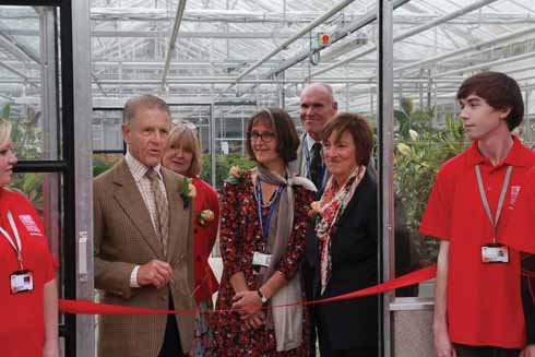 Edward Fox opening the horticultural glasshouses in 2014