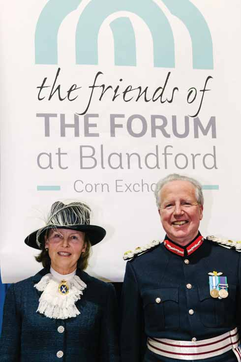 Jennifer Coombs pictured with  Angus Campbell, Her Majesty's Lord Lieutnenant of Dorset