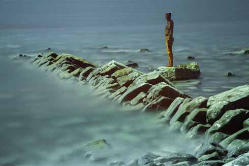 This was before Antony Gormley's LAND  installation statue  at Kimmeridge succumbed to the heavy winter seas. Rosie remembers clambering very gingerly over the rocks in order to take the tripod that she needed to use such a long shutter speed.