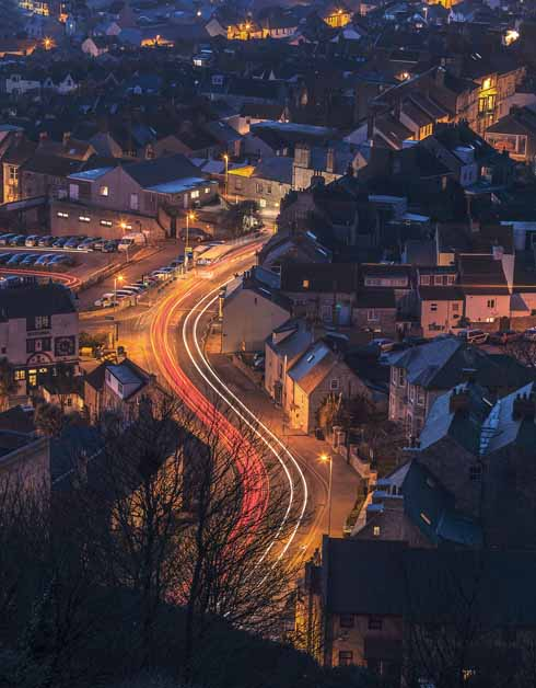 Rather than focusing on the Fleet, as is often the case from the heights of Portland, Rosie chose instead to follow the light trails of the vehicles as the snake their way up and down the hill