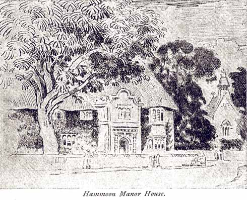Hammoon's manor house, with its thatched roof, as seen by Joseph Pennell a centruy ago