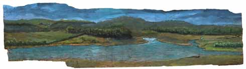 Middlebere Lake, painted  by Roger Lockey on tree bark