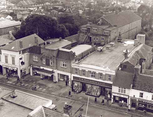 This 1960 view, taken from the top of the former United Reform Church in Millhams Street, shows the Regent's place in the High Street and the auditorium stretching out behind