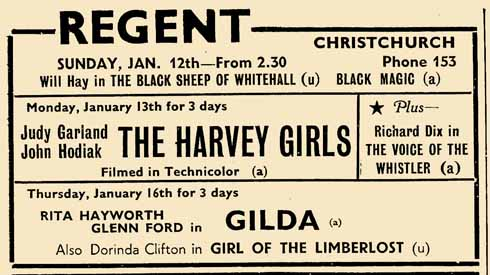 An advertisement from the Christchurch Times for 11 January 1947. Note two changes of programme a week in those pre-TV days, and two films on each programme. John Hodiak is little-known today but was a promising actor who was only 41 when he died in 1955.