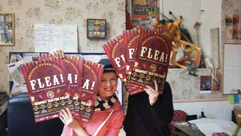 Producer Sally Vaughan in the FLEA! production office