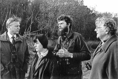 David Attenborough, pictured in winter 1985, with DWT's Pam Knight, Kevin Cook and Helen Brotherton