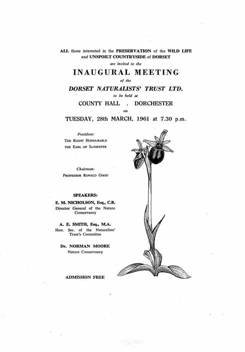 A flyer advertising the inaugural meeting of the (then) Dorset Naturalists' Trust Ltd, forerunner of the Dorset Wildlife Trust