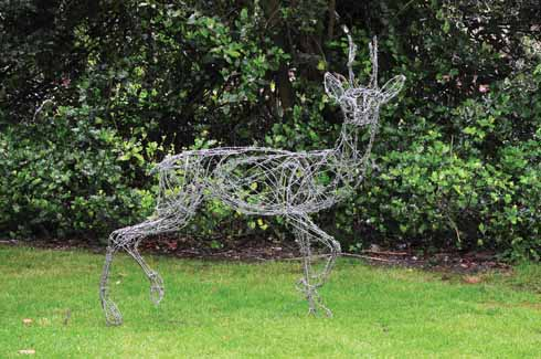 The amazing roebuck sculpture, made from barbed wire