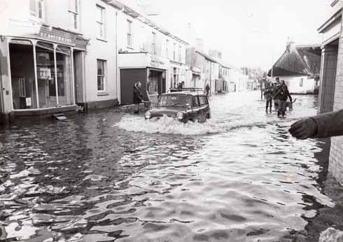 The scene in Leigh Road, Wimborne, in 1979