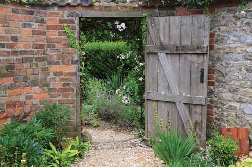 An old wooden door leading through to the rest of the garden from the gravel garden